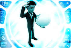 3d man sphere in hands and thinking about it illustration Royalty Free Stock Image