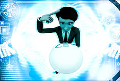 3d man sphere in hands and thinking about it illustration Stock Images