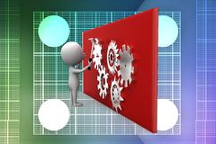 3d man  spinning gears illustration Royalty Free Stock Image