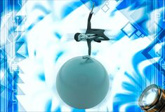 3d man spinning on hand on sphere of earth illustration Royalty Free Stock Images