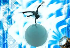 3d man spinning on hand on sphere of earth illustration Royalty Free Stock Photo