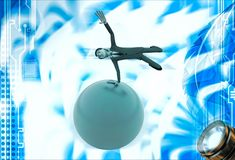 3d man spinning on hand on sphere of earth illustration Stock Image