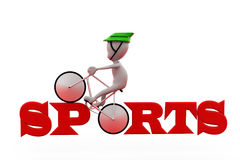 3d man sports cycle concept Royalty Free Stock Photos