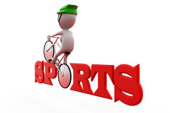 3d man sports cycle concept Royalty Free Stock Image