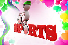 3d man sports cycle  illustration Royalty Free Stock Images
