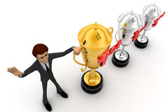 3d man with 1st, 2nd and 3rd award cups concept Royalty Free Stock Image
