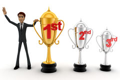 3d man with 1st, 2nd and 3rd award cups concept Stock Photography