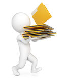 3D man with stack of folders. Isolated on whire background. Paperwork concept Royalty Free Stock Photos