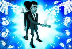 3d man stading on opssite direction and holding question mark in one hand illustration Stock Images