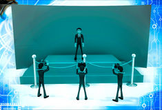 3d man on stage before photographers and press illustration Royalty Free Stock Photo