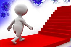 3d man on stairs illustration Royalty Free Stock Photography