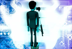 3d man stand in front of camera on tripod illustration Royalty Free Stock Images