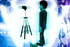 3d man stand in front of camera on tripod illustration Stock Image