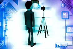 3d man stand in front of camera on tripod illustration Stock Photos
