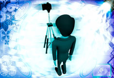 3d man stand in front of camera on tripod illustration Stock Photo