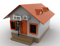 3d man stand in front of home with air conditioner concept Stock Images