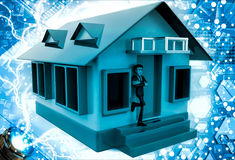 3d man stand in front of home with air conditioner illustration Royalty Free Stock Photo