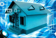 3d man stand in front of home with air conditioner illustration Stock Image