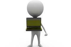 3d man stand with laptop concept Stock Photography