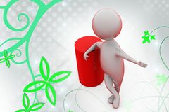 3d man stand with support  illustration Royalty Free Stock Images