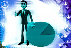 3d man standin beside pie graph illustration Royalty Free Stock Photos