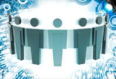 3d man standing in arc with leader in middle illustration Royalty Free Stock Photo