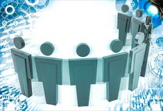 3d man standing in arc with leader in middle illustration Royalty Free Stock Image