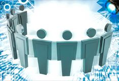 3d man standing in arc with leader in middle illustration Royalty Free Stock Photos