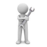 3d man standing with arms crossed and holding wrench for maintenance services. Over white background Stock Images