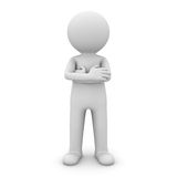 3d man standing with arms crossed over white. Background Royalty Free Stock Images