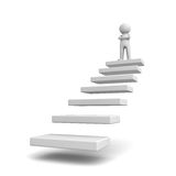 3d man standing with arms crossed on top of steps or stair. Success concept over white background Royalty Free Stock Images