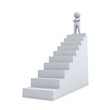 3d man standing with arms crossed up on top of stair. Isolated over white background Royalty Free Stock Image
