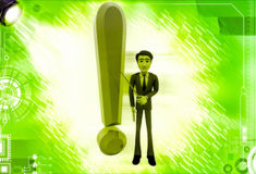 3d man standing aside big red exclamation sign illustration Stock Images