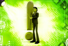 3d man standing aside big red exclamation sign illustration Stock Photography