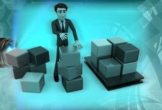 3d man standing aside boxes illustration Stock Photography
