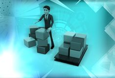 3d man standing aside boxes illustration Royalty Free Stock Photography