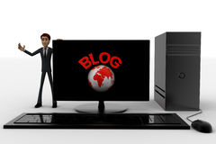3d man standing aside pc with blog text and globe symbol on screen concept Stock Image