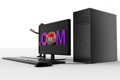3d man standing aside pc with .com text on screen concept Stock Image