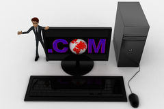 3d man standing aside pc with .com text on screen concept Royalty Free Stock Image