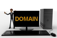 3d man standing aside pc with domain text on screen concept Stock Photo