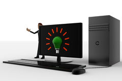 3d man standing aside pc with idea symbol on screen concept Royalty Free Stock Images