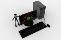 3d man standing aside pc with idea symbol on screen concept Stock Images