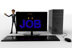 3d man standing aside pc with job text on screen concept Stock Photography