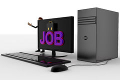3d man standing aside pc with job text on screen concept Stock Photos