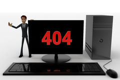 3d man standing aside pc with 404 number on screen concept Stock Image