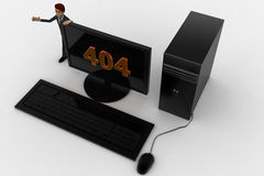 3d man standing aside pc with 404 number on screen concept Royalty Free Stock Photography