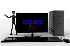 3d man standing aside pc with online text on screen concept Royalty Free Stock Photos