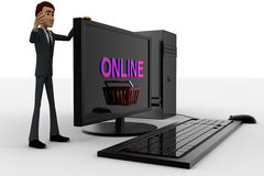 3d man standing aside pc with online text on screen concept Stock Image