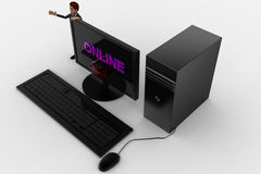 3d man standing aside pc with online text on screen concept Stock Photo