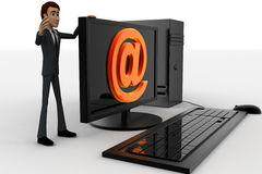 3d man standing aside pc with @ symbol on screen concept Stock Photo